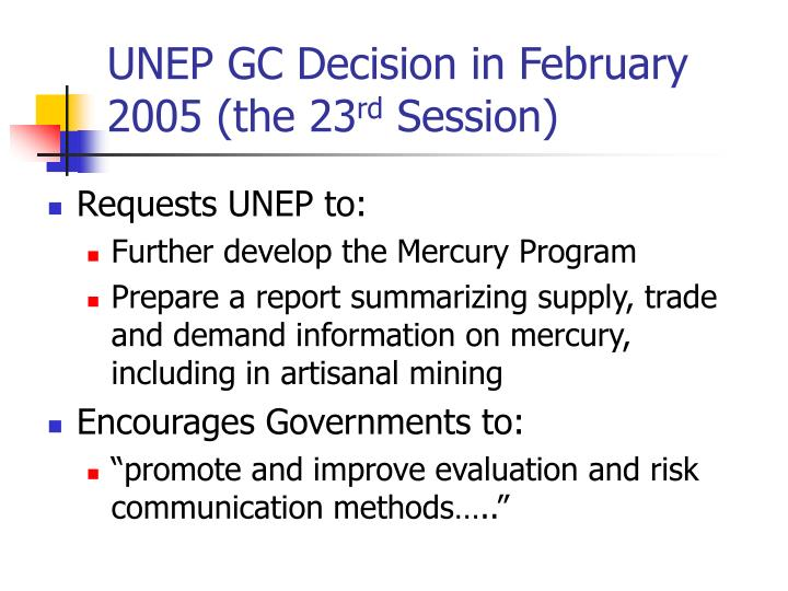 UNEP GC Decision in February 2005 (the 23