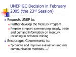 unep gc decision in february 2005 the 23 rd session