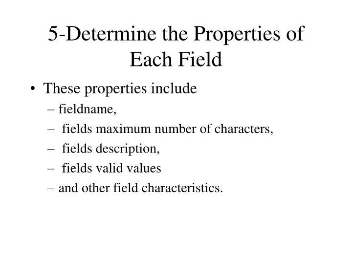 5-Determine the Properties of Each Field