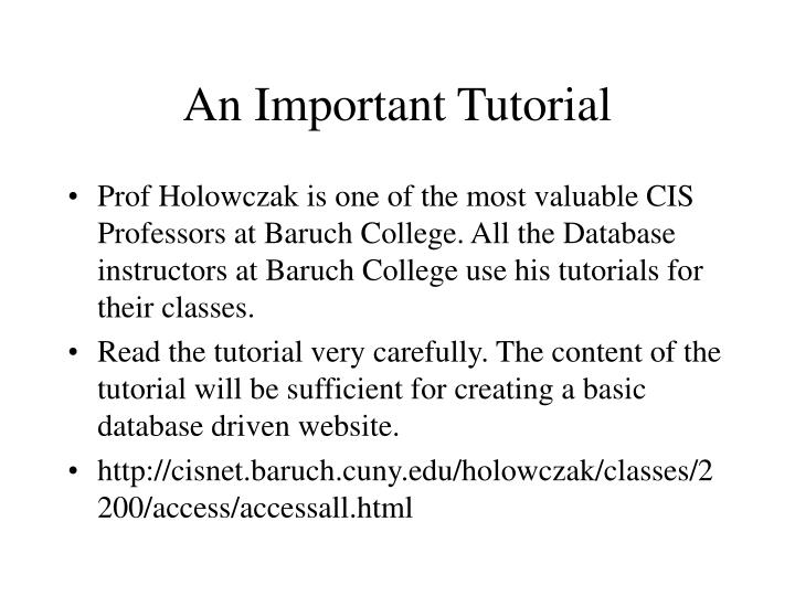 An Important Tutorial