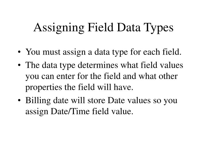 Assigning Field Data Types