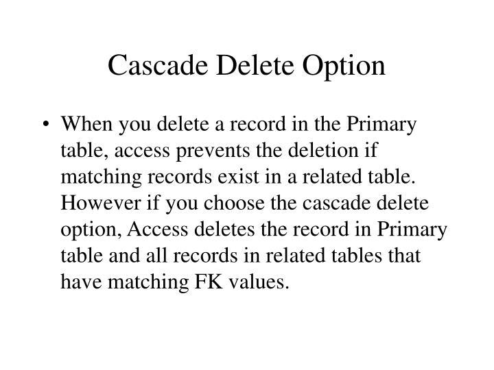 Cascade Delete Option