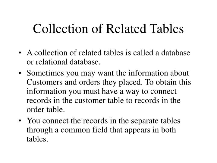 Collection of Related Tables