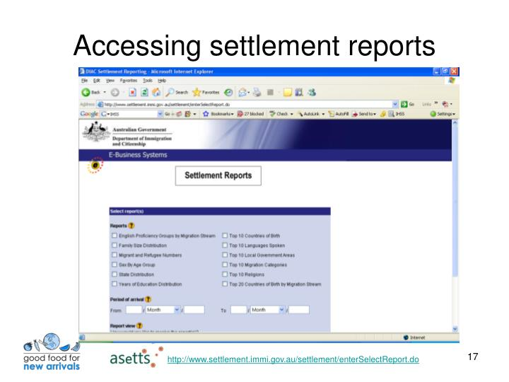 Accessing settlement reports