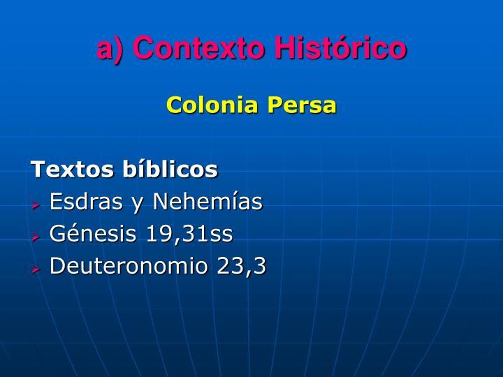 a) Contexto Histórico