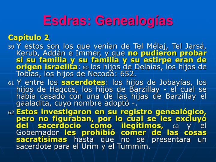 Esdras: Genealogías
