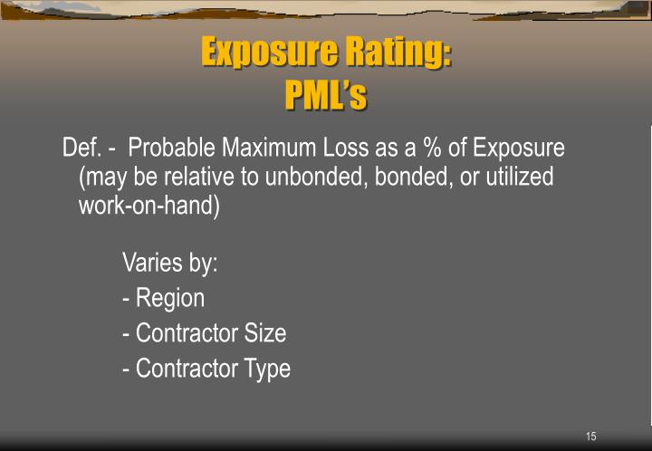 Def. -  Probable Maximum Loss as a % of Exposure (may be relative to unbonded, bonded, or utilized work-on-hand)