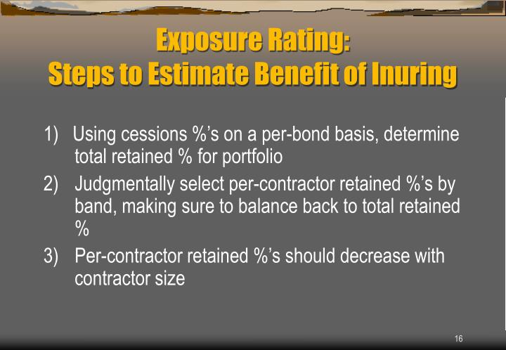 1)   Using cessions %'s on a per-bond basis, determine total retained % for portfolio
