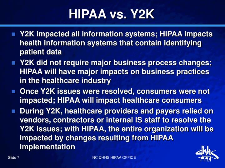 HIPAA vs. Y2K