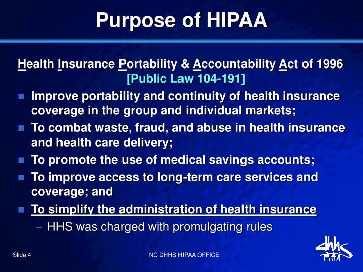Purpose of HIPAA