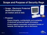 scope and purpose of security regs