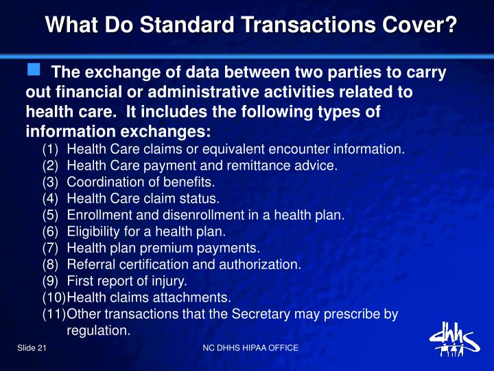 What Do Standard Transactions Cover?