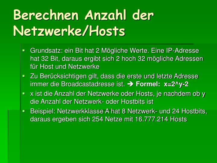 Berechnen Anzahl der Netzwerke/Hosts