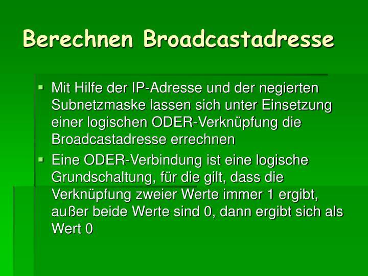 Berechnen Broadcastadresse