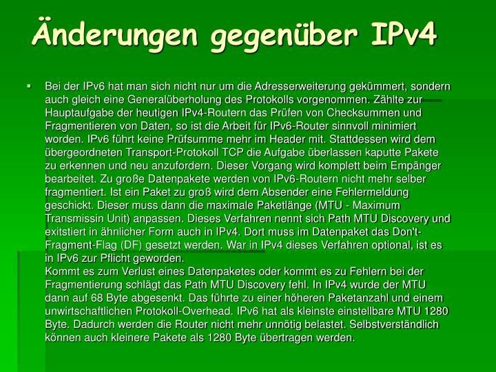 Änderungen gegenüber IPv4