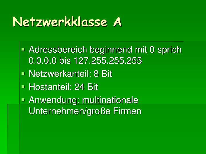 Netzwerkklasse A
