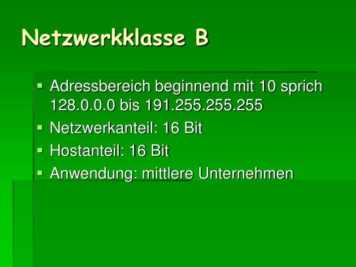 Netzwerkklasse B