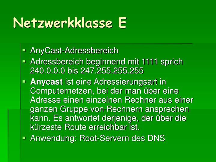 Netzwerkklasse E