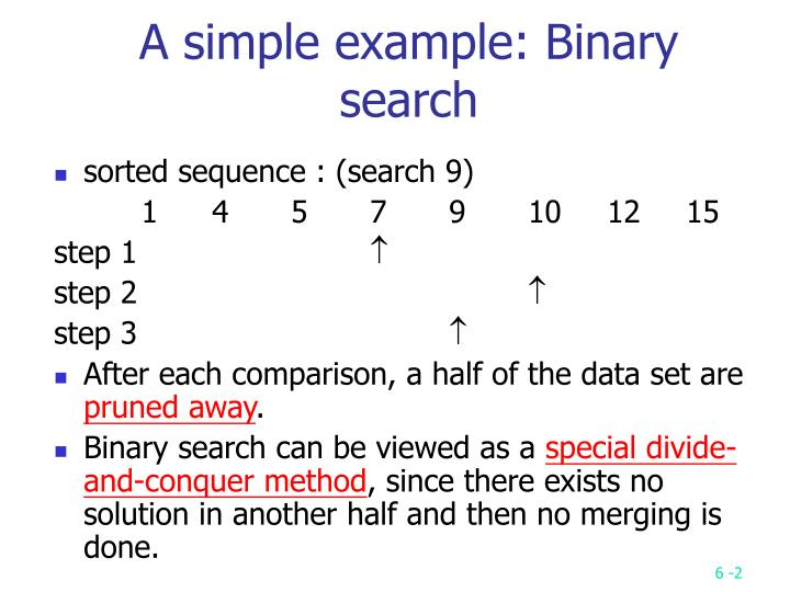 A simple example binary search