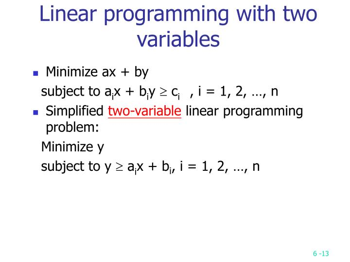 Linear programming with two variables