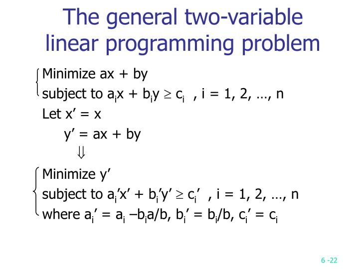 The general two-variable linear programming problem