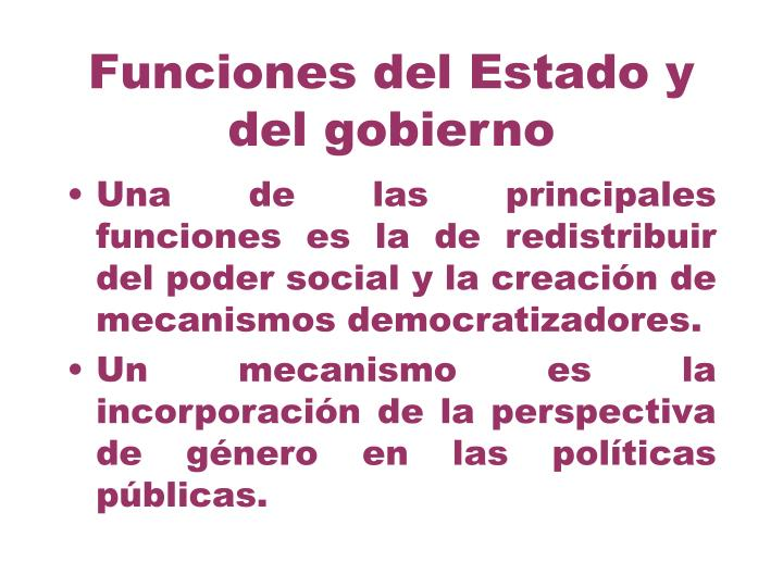 Funciones del Estado y del gobierno