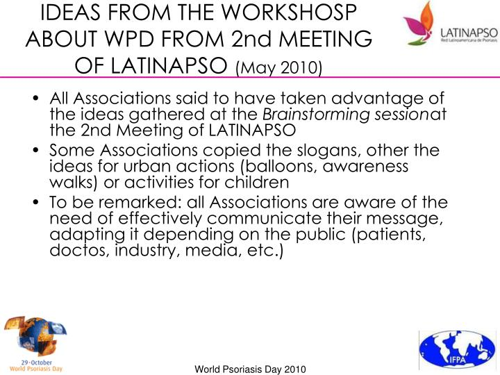 IDEAS FROM THE WORKSHOSP ABOUT WPD FROM 2nd MEETING OF LATINAPSO