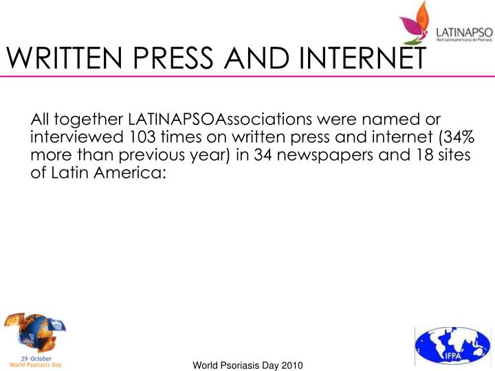 WRITTEN PRESS AND INTERNET