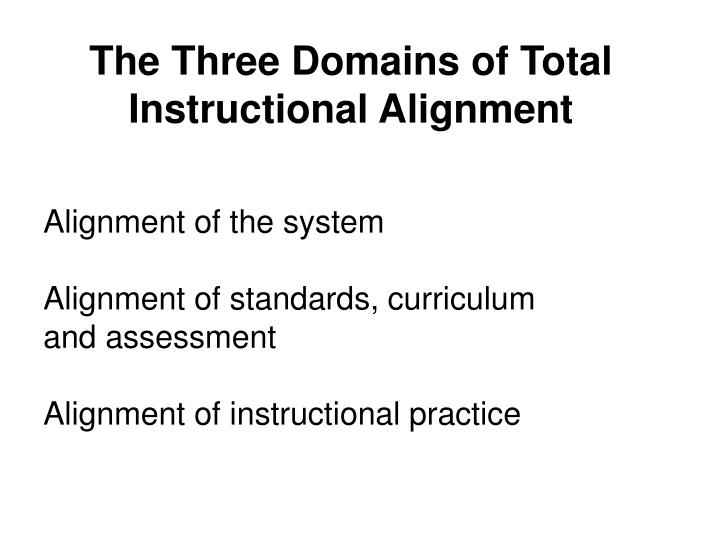The Three Domains of Total Instructional Alignment