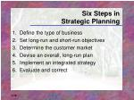 six steps in strategic planning