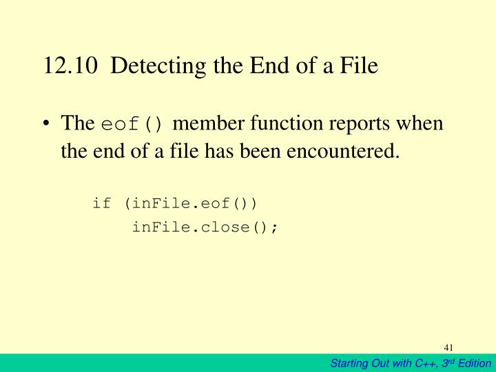 12.10  Detecting the End of a File