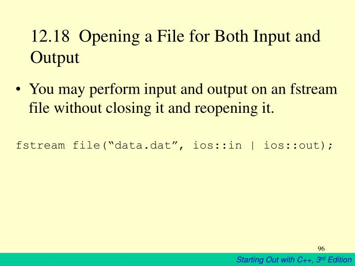 12.18  Opening a File for Both Input and Output
