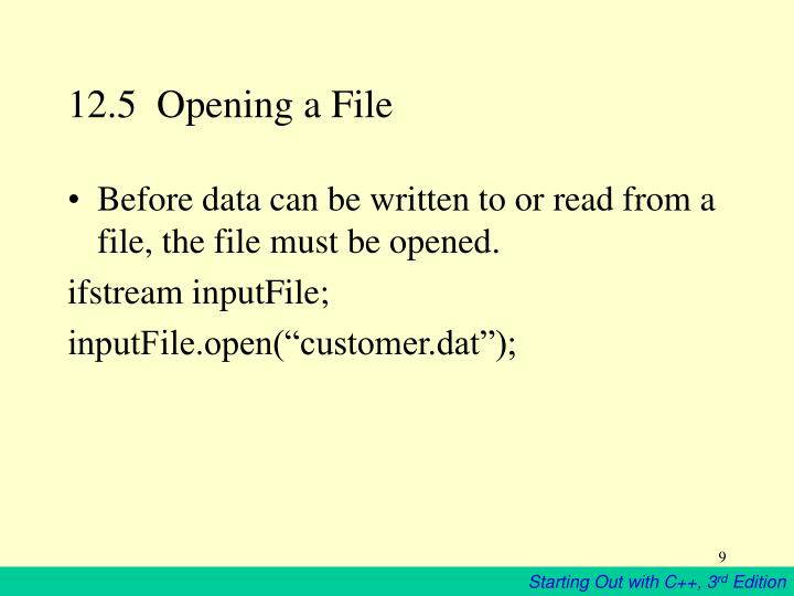 12.5  Opening a File