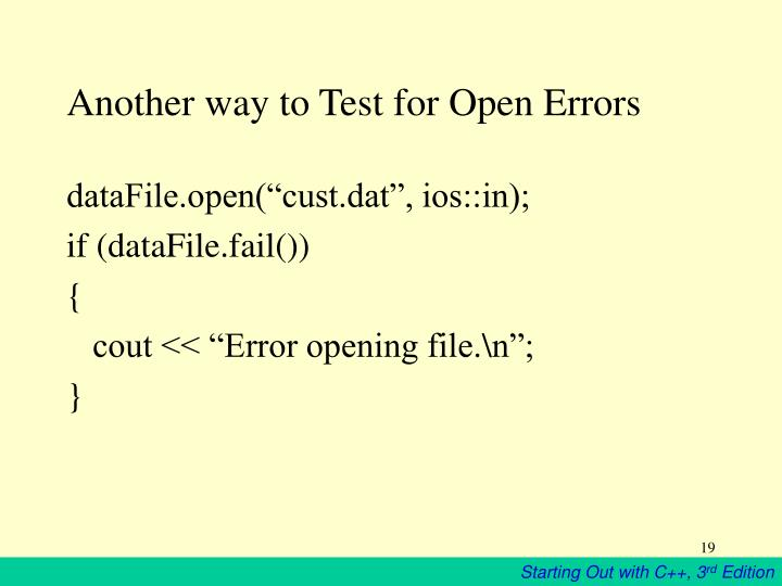 Another way to Test for Open Errors