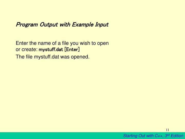 Program Output with Example Input