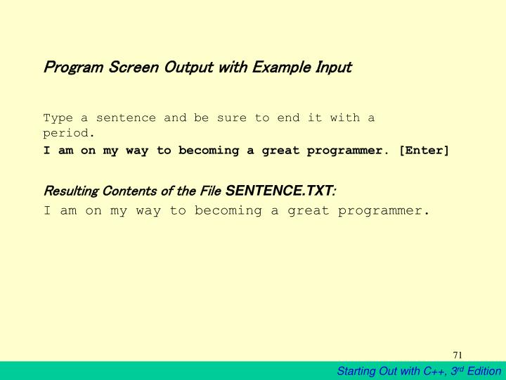 Program Screen Output with Example Input