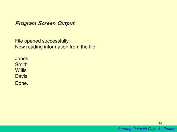 Program Screen Output