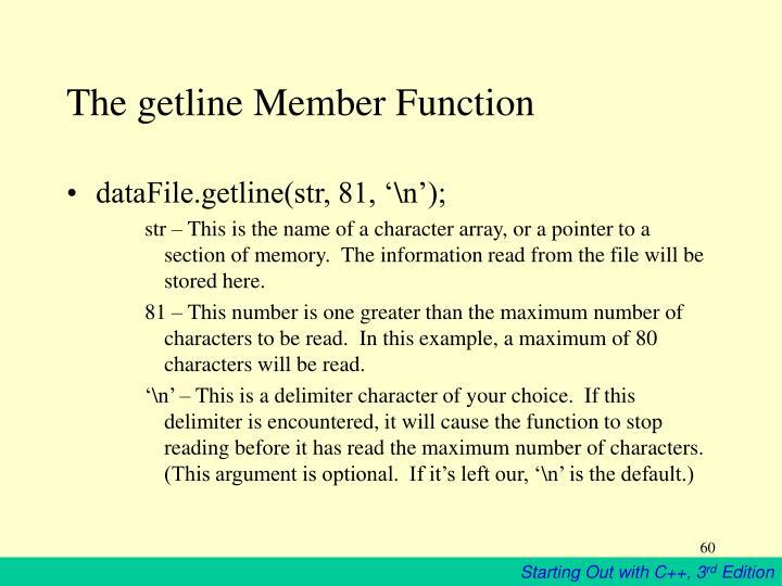The getline Member Function