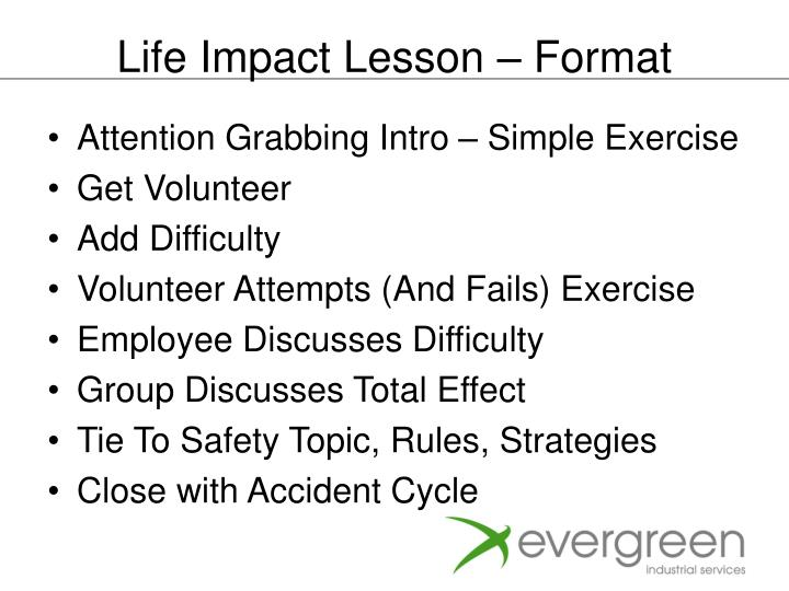 Life Impact Lesson – Format