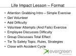 life impact lesson format