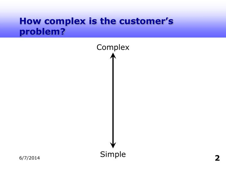 How complex is the customer's problem?