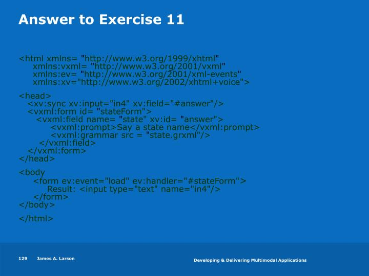 Answer to Exercise 11