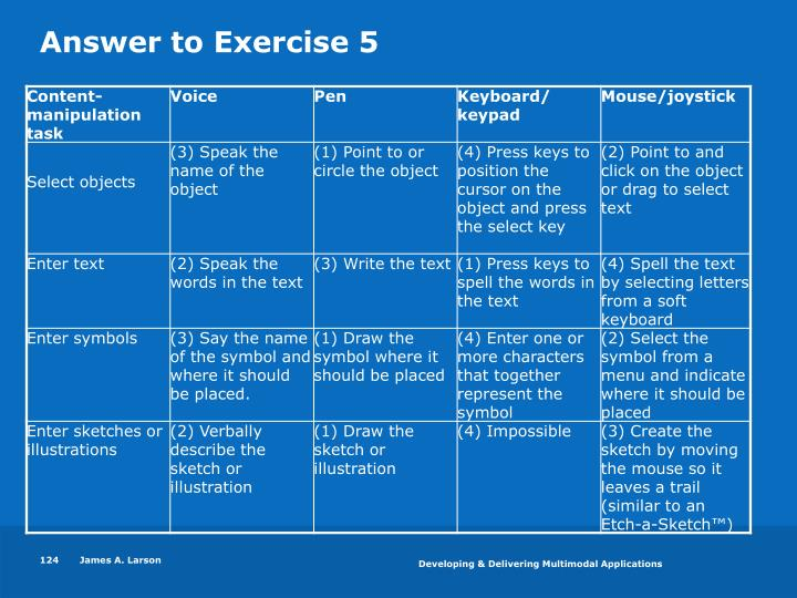Answer to Exercise 5
