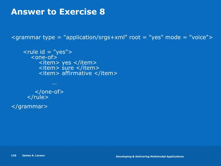 Answer to Exercise 8