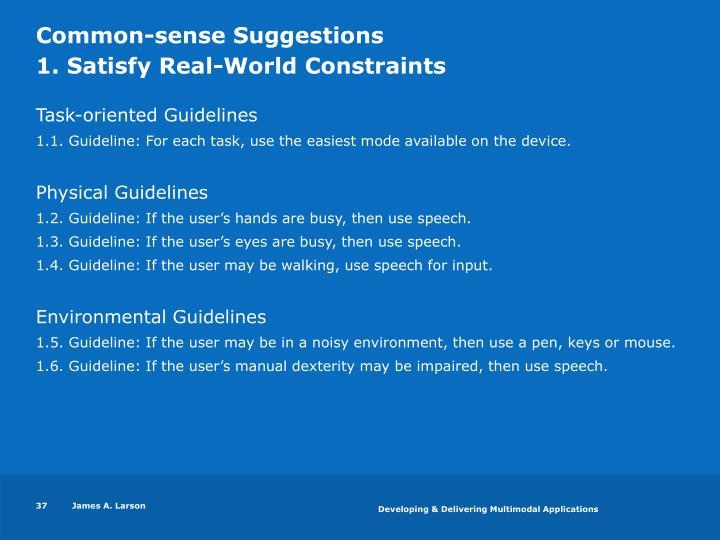 Common-sense Suggestions