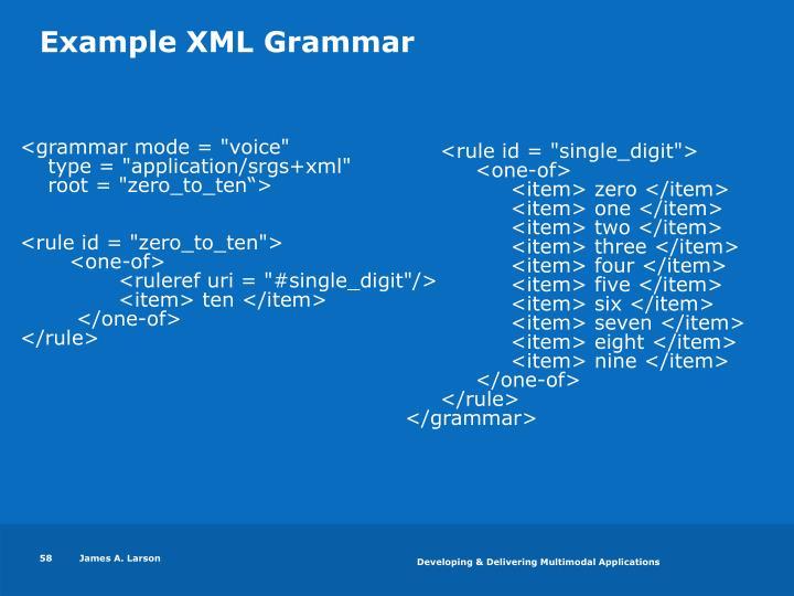 Example XML Grammar