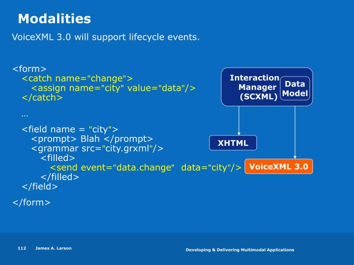 VoiceXML 3.0 will support lifecycle events.