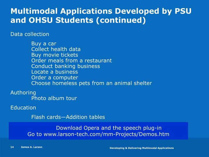 Multimodal Applications Developed by PSU and OHSU Students (continued)