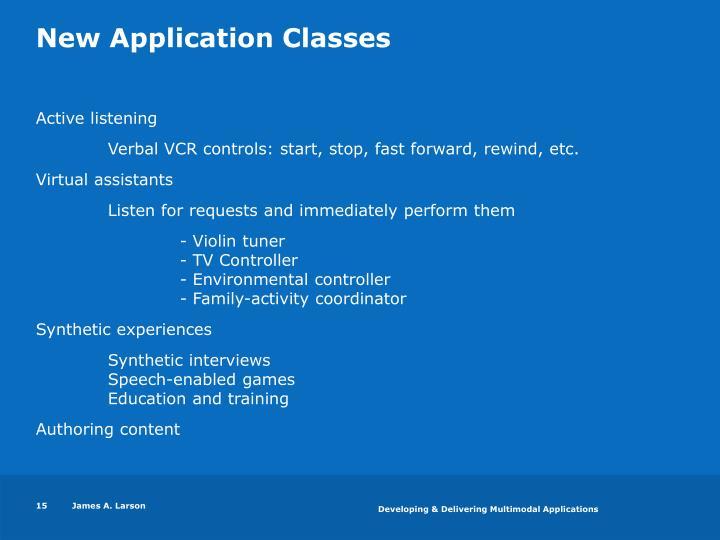 New Application Classes