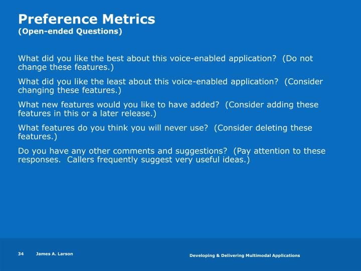 Preference Metrics
